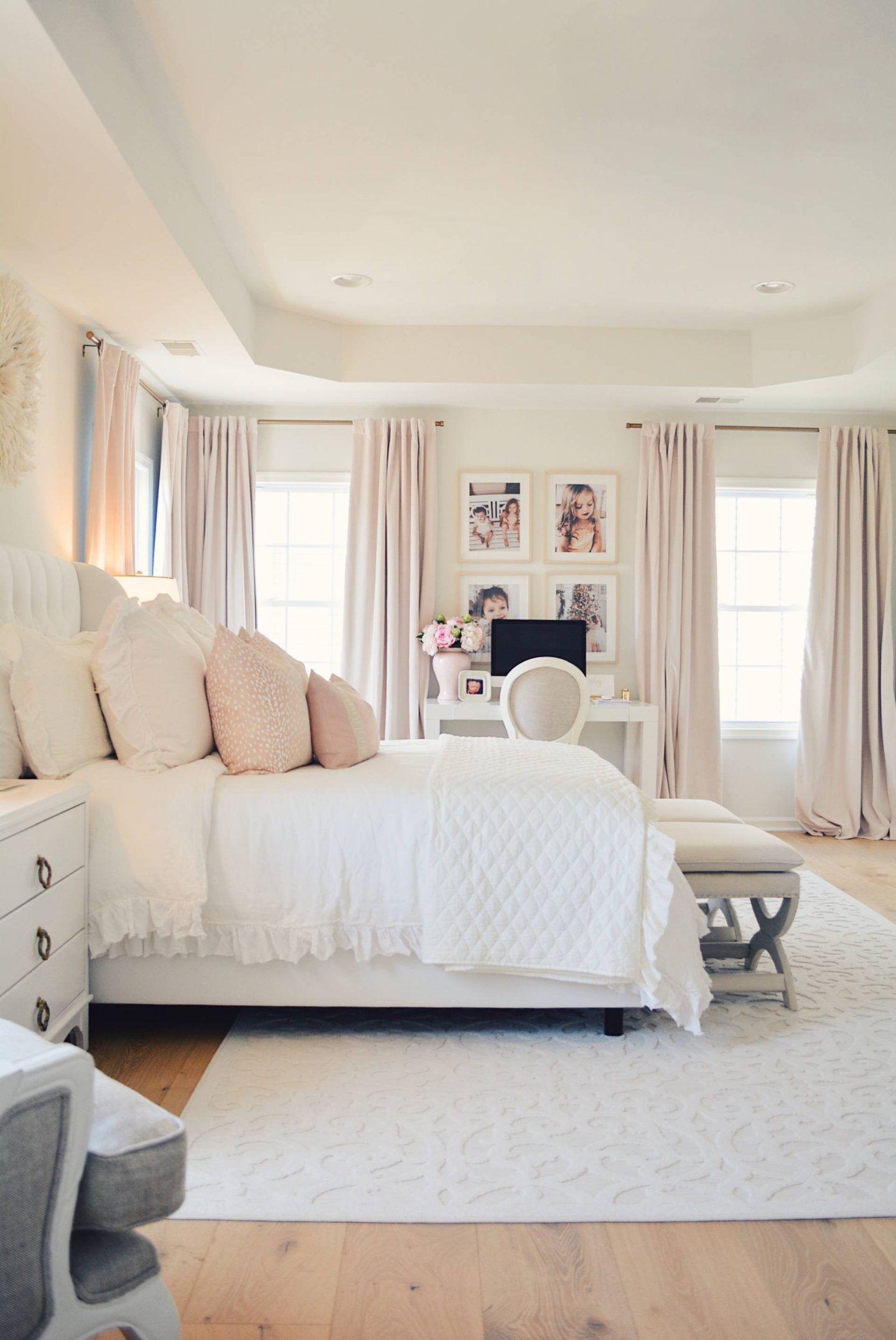 Elegant White Master Bedroom Blush Decorative Pillows The Pink Dream Master Bedroom Makeover White Master Bedroom Bedroom Inspirations