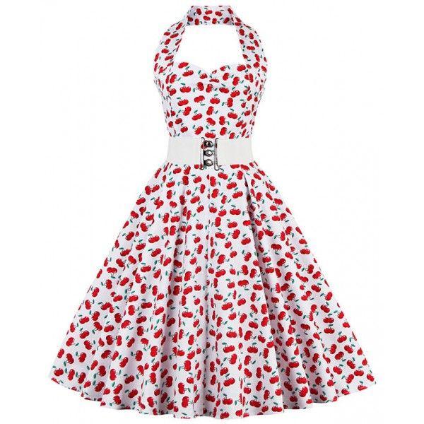 Vestido vintage blanco con cerezas rojas | Vestidos Vintage ...