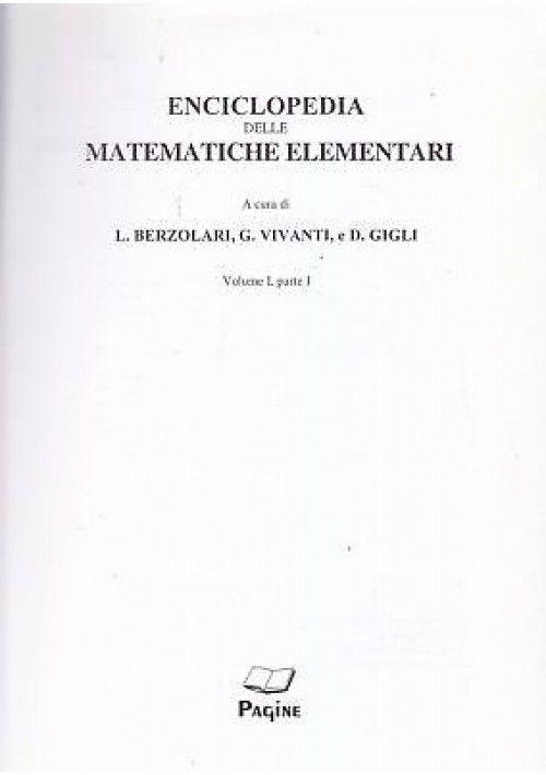 Enciclopedia delle matematiche elementari e complementi ...