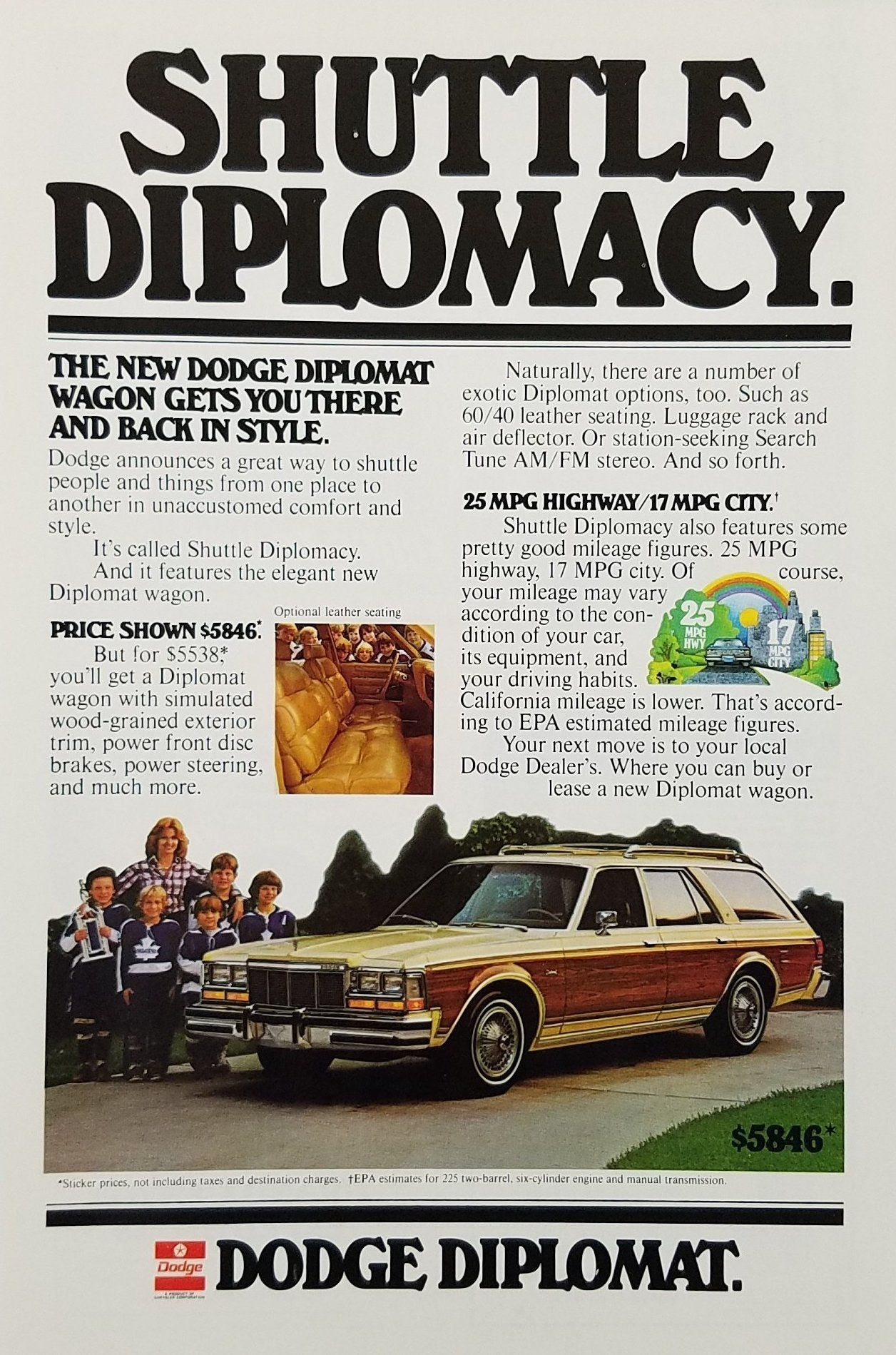 1978 Dodge Diplomat Wagon Vintage Ad - Mother Children Sports Team ...