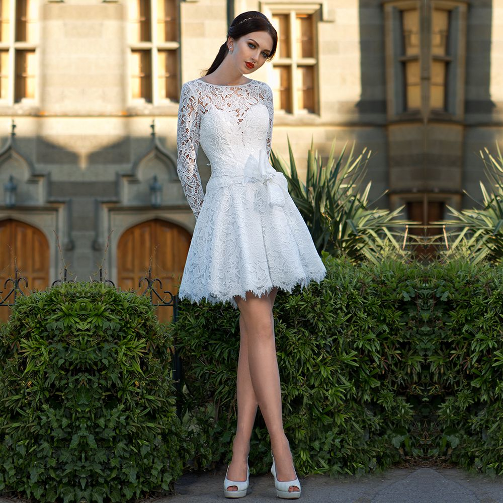 Find a best short white lace wedding dresses keyhole back mini long