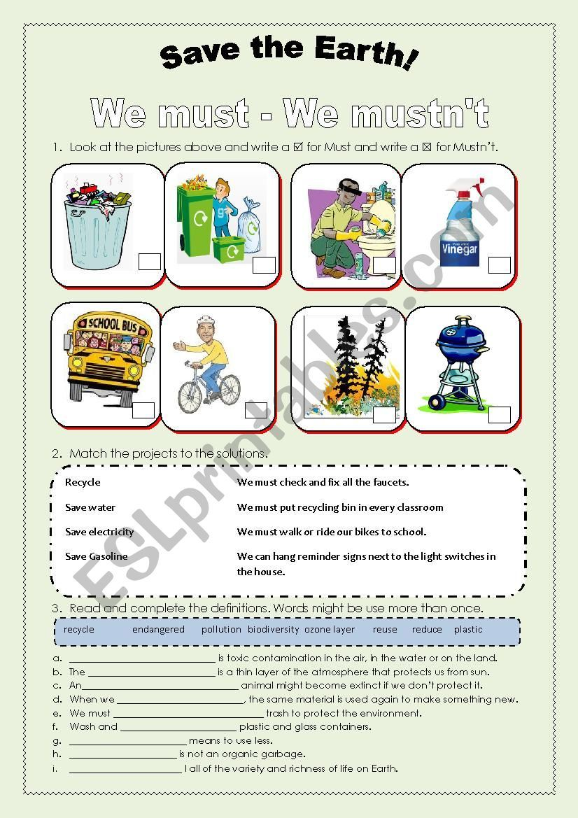 Save The Earth Must And Must Not Save Earth English Activities English Language Teaching [ 1169 x 826 Pixel ]