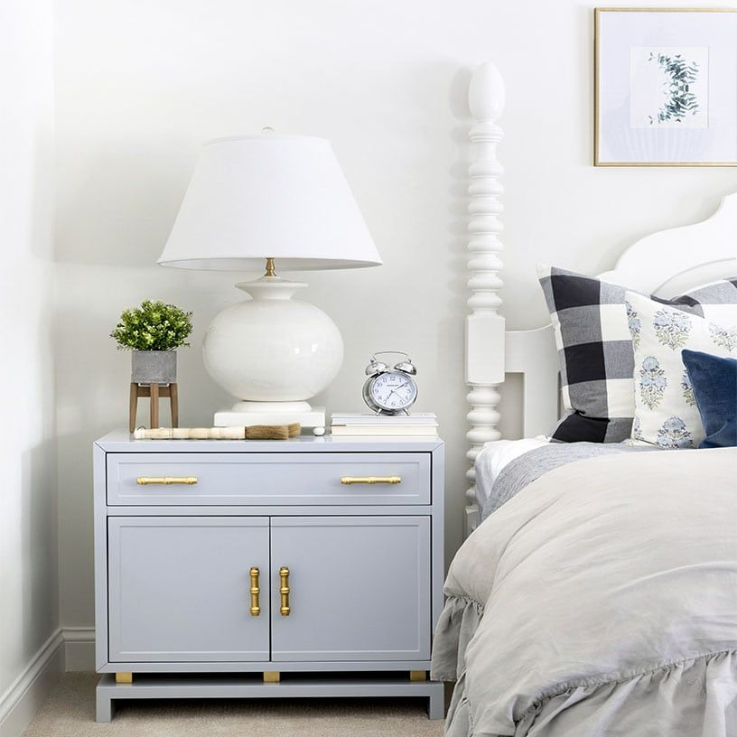 Best Light Blue Nightstand With A White Bedside Lamp Spindle 640 x 480