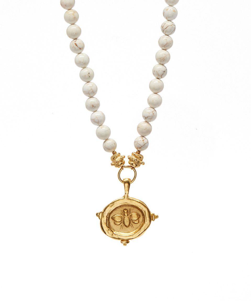 Susan shaw white turquoise gold bee pendant necklace shiny susan shaw white turquoise gold bee pendant necklace aloadofball Choice Image