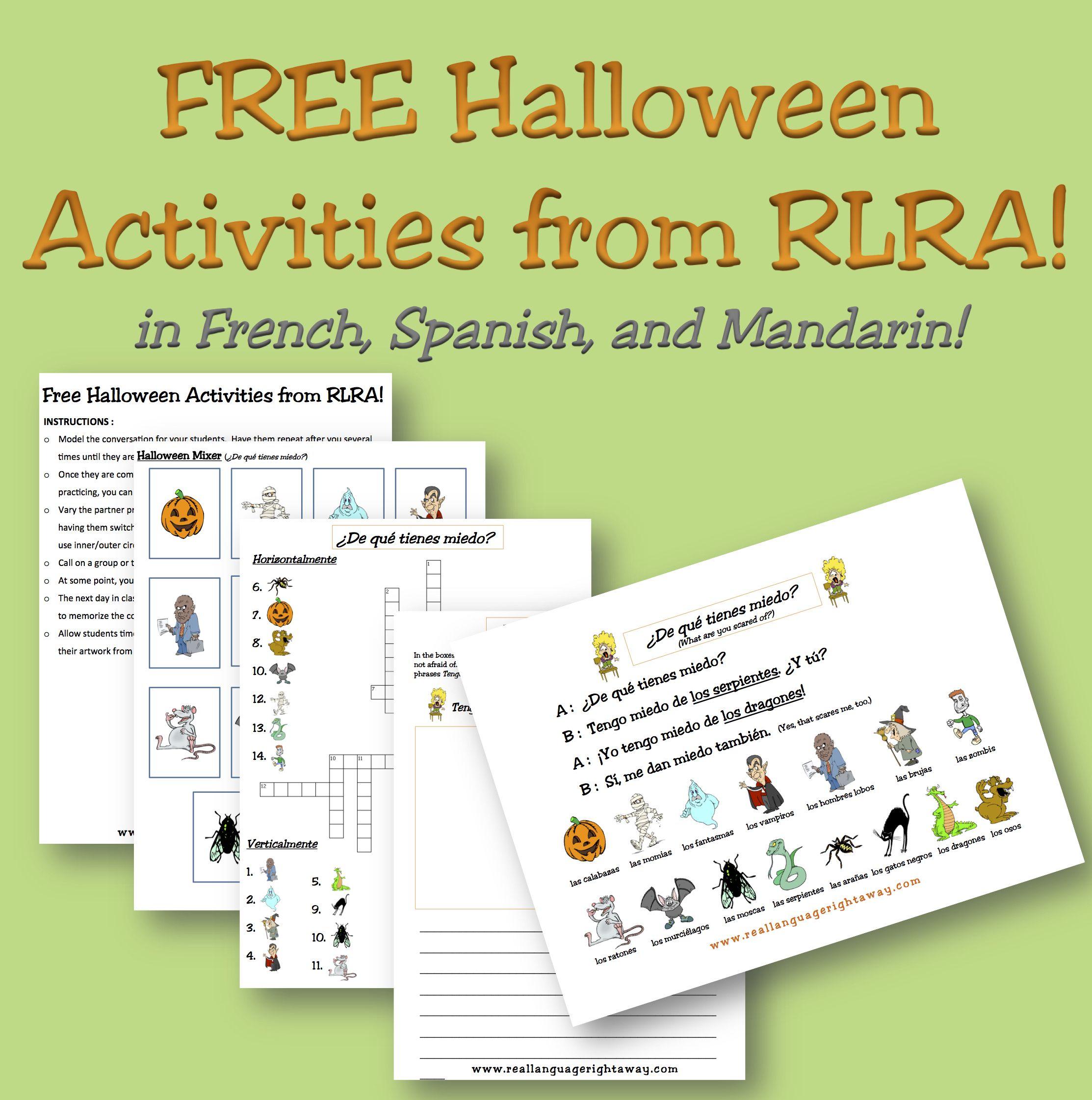 Free Halloween Activities in French, Spanish, and Mandarin