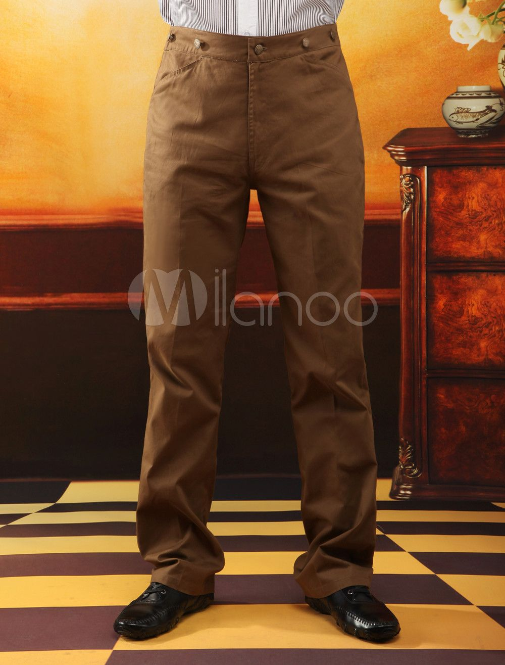 Brown Cotton Mens Victorian Trousers- Great for Victorian Day Wear. Must order in custom sizes.  http://www.vintagedancer.com/victorian/victorian-mens-clothing/  #Victorian #steampunk