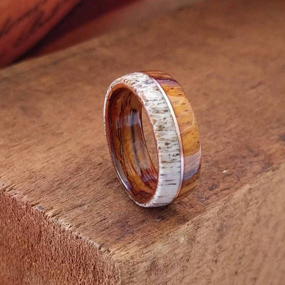 Elk Antler Ring with Cocobolo wood and Copper Inlay Mens wooden