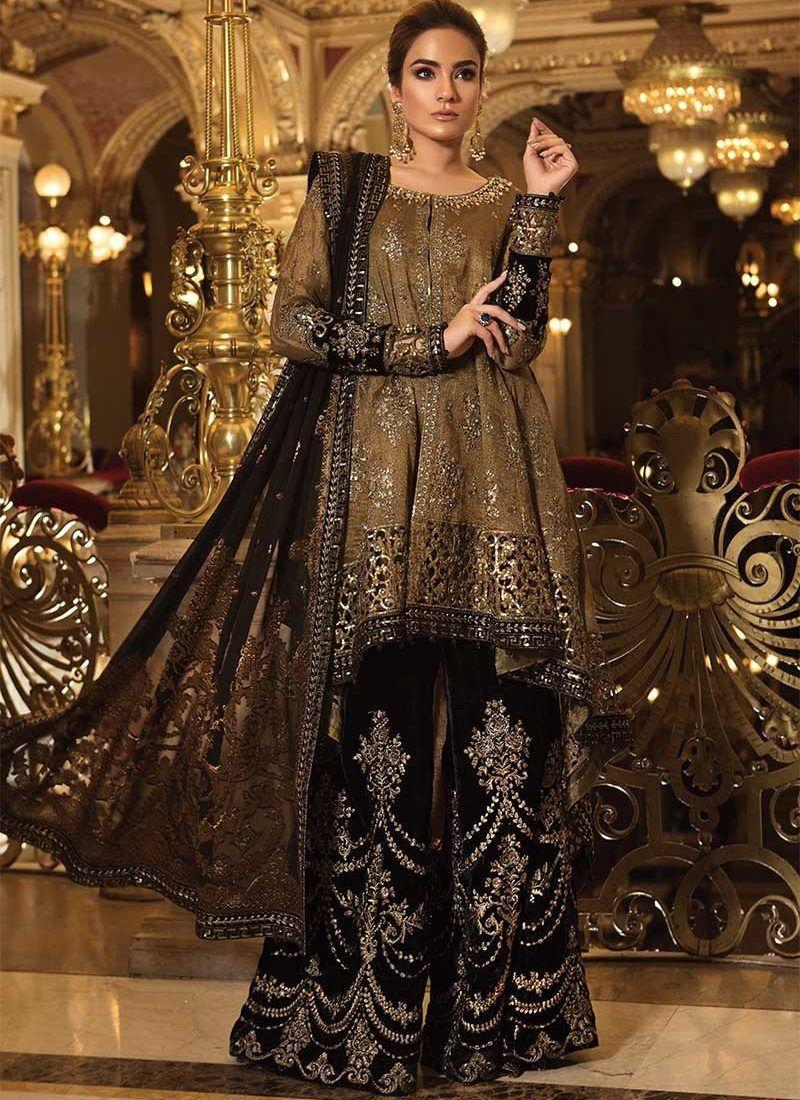 MARIA B. Mbroidered Oxidized Gold & Black Pakistani