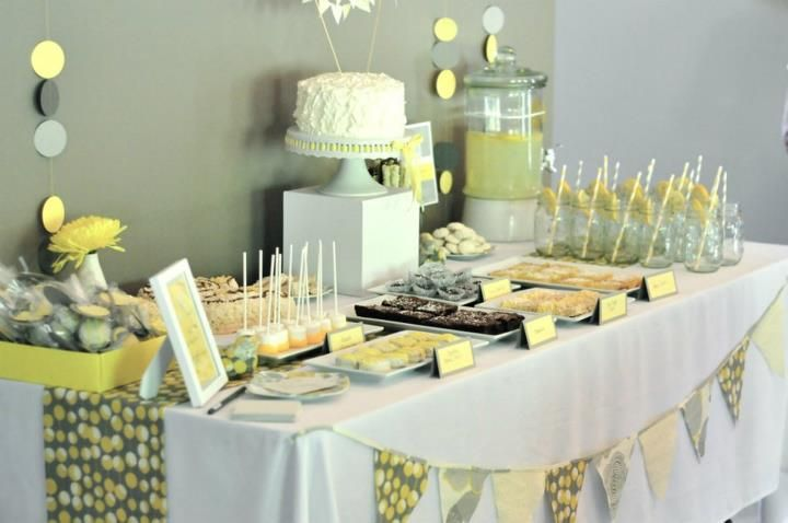 Baby Shower table example.. cake box with bumble bee!