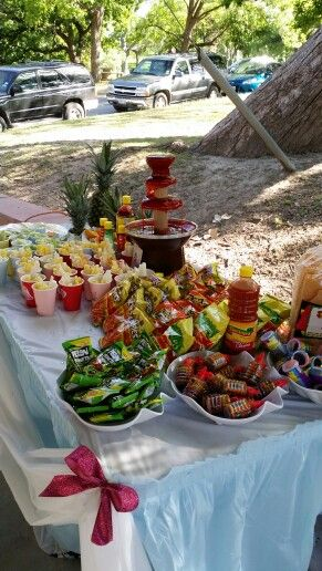 Chamoy Fauntain Mexican Birthday Parties Mexican Candy Table