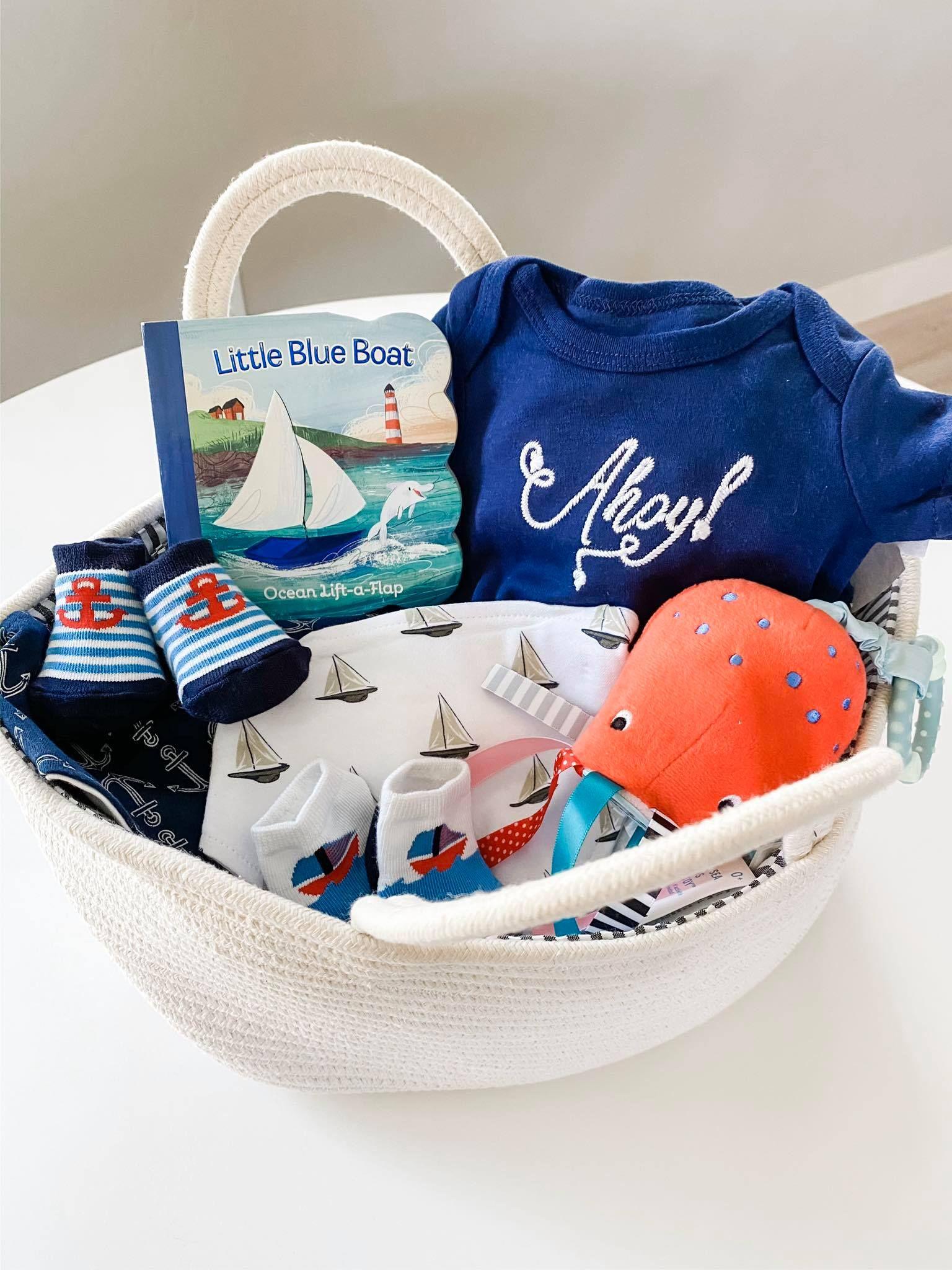 Baby boy gift basket ahoy its a boy nautical themed basket