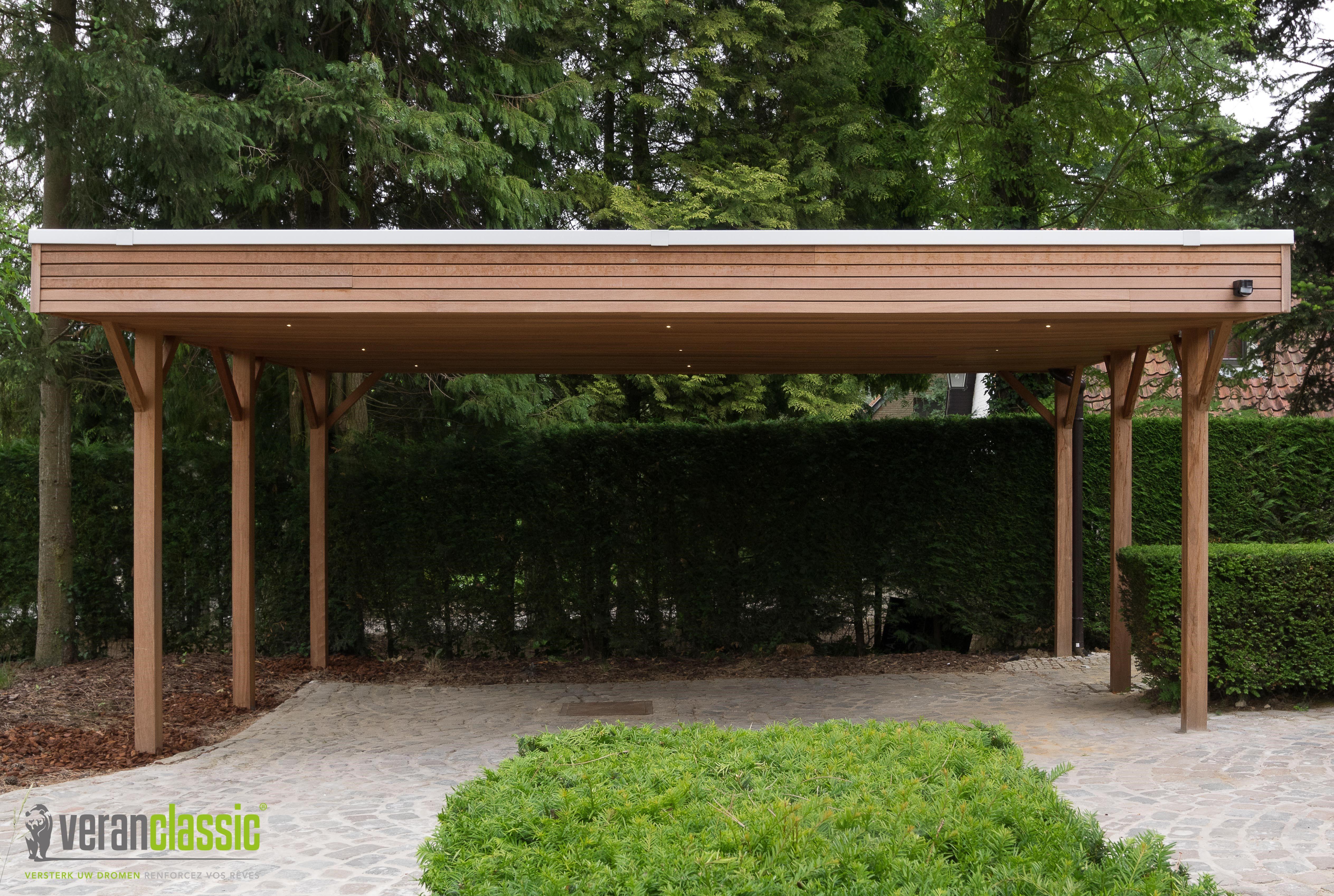Dubbele houten carport in 2020 Hout buitenkant huis