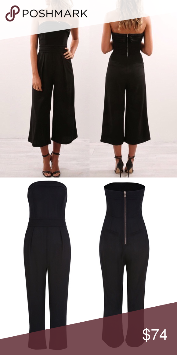 981b6313798e Strapless Cropped Wide Leg Jumpsuit Black
