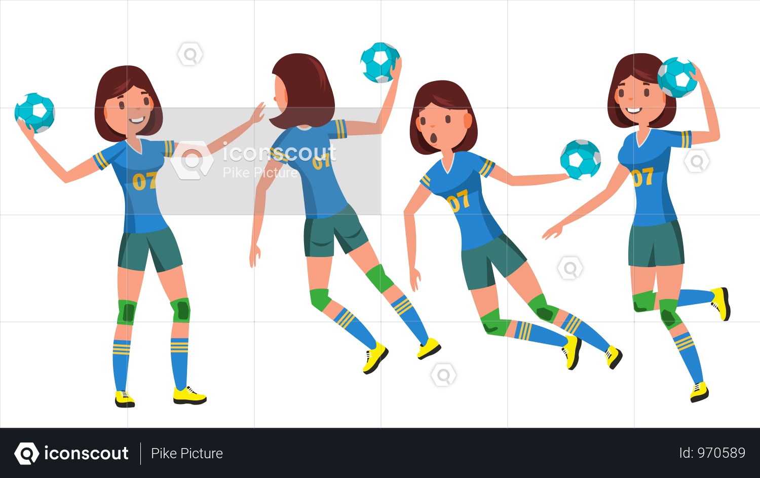 Premium Handball Female Player Vector Playing In Different Poses Woman Attack Jump Shooting Player Athlete Isolated On White Cartoon Character Illustration Handball Character Illustration Field Hockey Girls