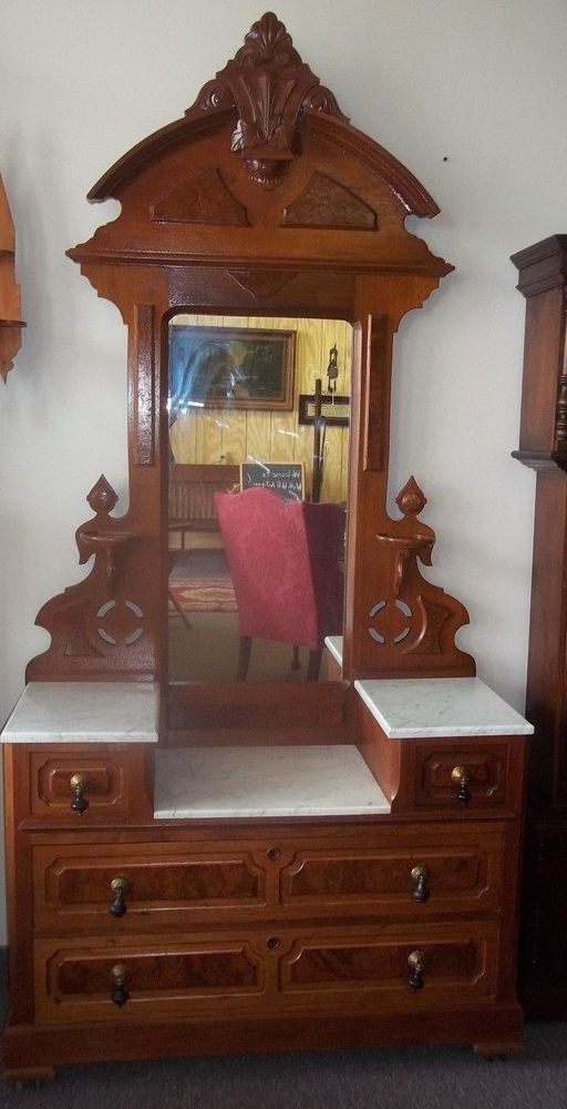 Antique Victorian Walnut Drop Center Mirrored Dresser with Marble