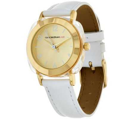 Isaac Mizrahi Live! Frosted Acrylic Case Strap Watch