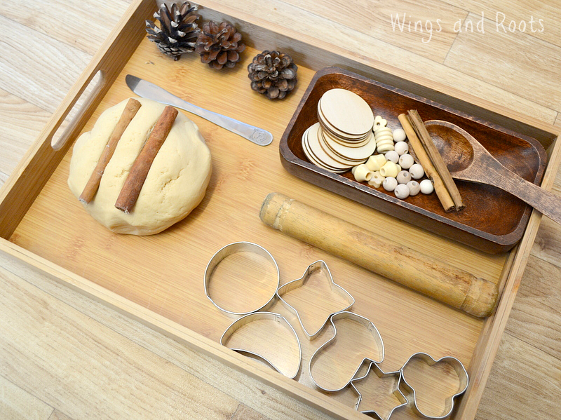 Vanilla Chai Play Dough Invitation to Play with woodena nd metal resources - Wings and Roots