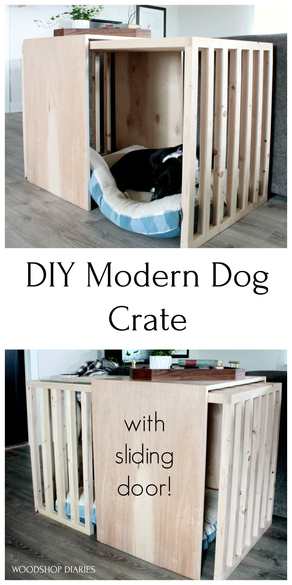 DIY Modern Dog Crate With Sliding Door