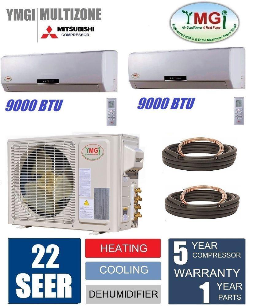 Ymgi 18000 Btu 1 5 Ton Dual Zone Ductless Mini Split Air Conditioner Heat Pump Ymgi Tankless Water Heater Water Heater Heater