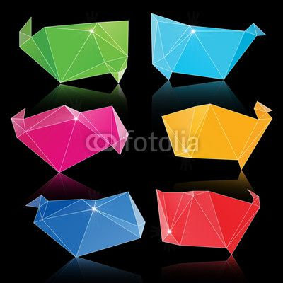 Vector: Vector trendy crystal triangle banner shapes