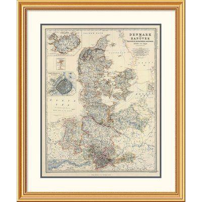 East Urban Home 'Denmark, Hanover, Brunswick, Mecklenburg, Oldenburg, 1861' Framed Print Size:
