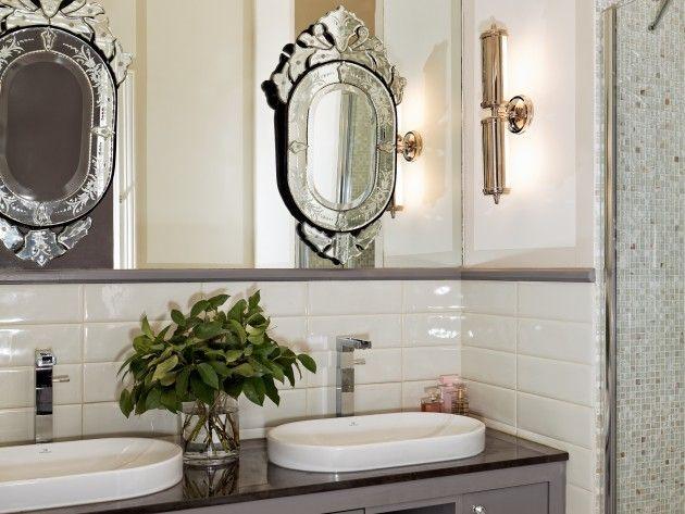 Miroirs vénitiens chinés sur grand volume miroir Mosaique de la - volume salle de bains