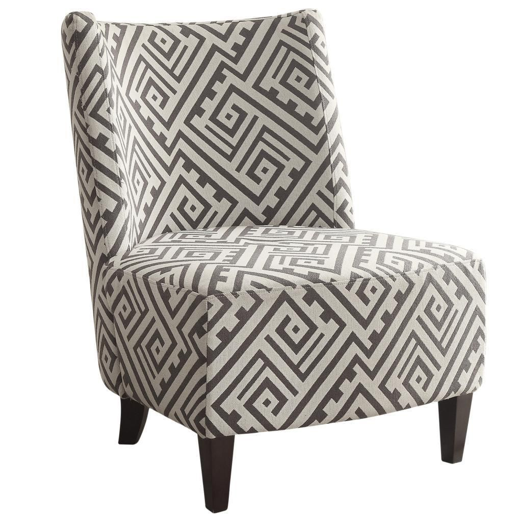 Worldwide Valentina Designer Fabric Accent Chair Grey/White (Valentina Designer  Accent Chair