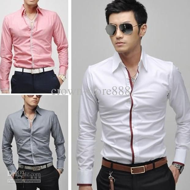 New Mens Casual Slim Fit Stylish Dress Shirts 3Colours Gray,White ...