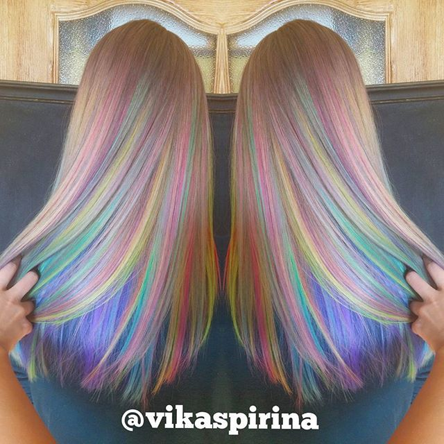 Rainbow Hair Color By Vika Spirina Pastel Hair Mermaid Hair Unicorn Hair Hair Painting Hotonbeauty Com Cheveux Tres Colores Cheveux Cheveux Multicolores