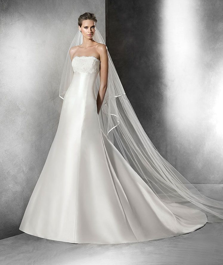 PRISCIA A Line Wedding Dress In Mikado Silk Strapless Neckline Decorated With Lace With