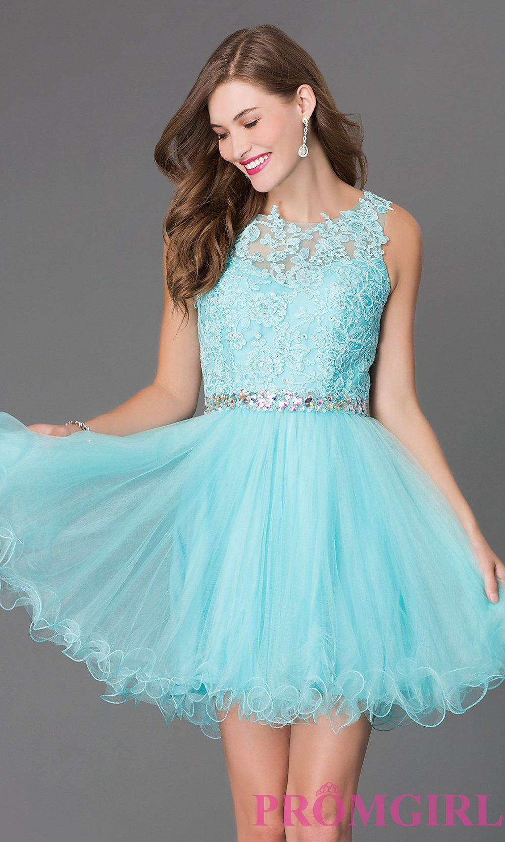 Short Tulle Lace Top Prom Dress | Shorts, Lace and Teal dresses