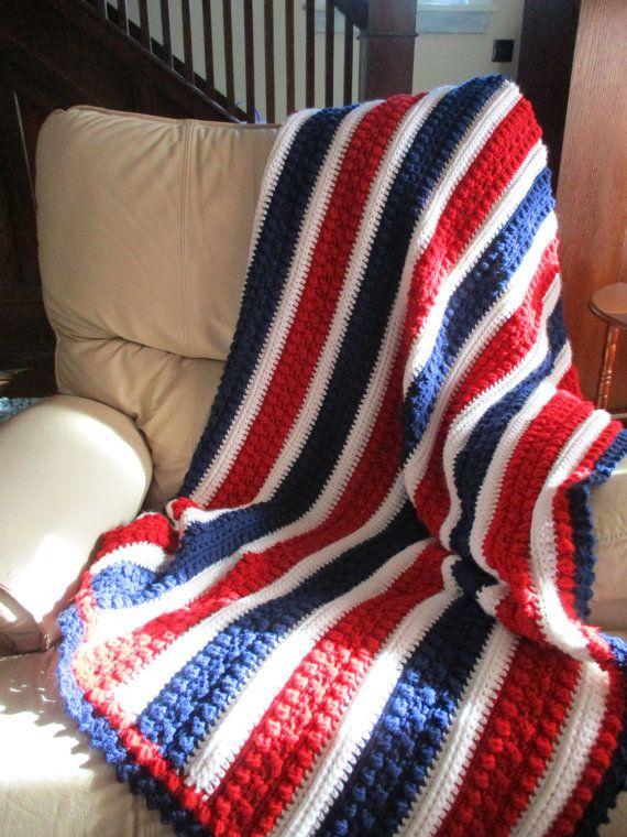 Afghan Red White And Blue Crochet Blanket Throw Blanket