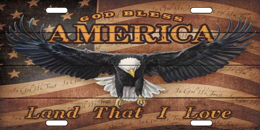American Flag Praying Hands Novelty Vanity Metal License Plate