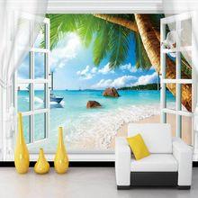 Foto behang 3D muurschilderingen valse venster strand landschap ...