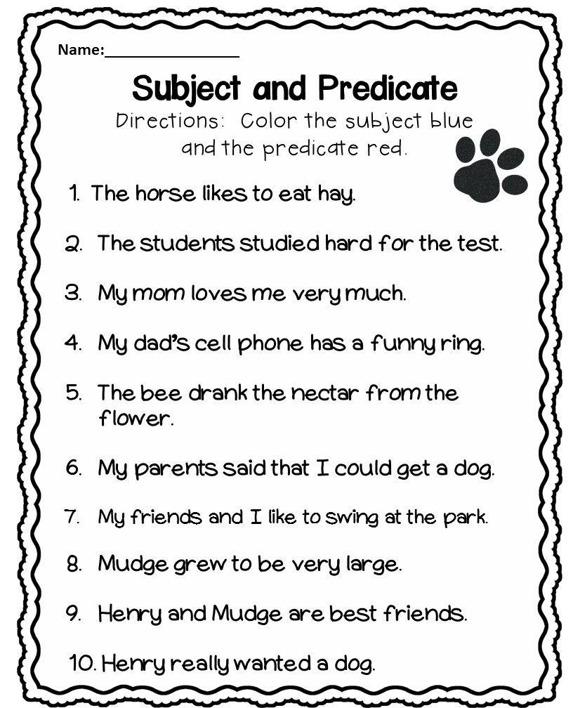 Subject and Predicate 1st Grade   Subject, predicate ...