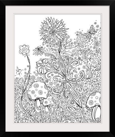 Flowers And Mushrooms Coloring Canvas Colouring Wall Art Art