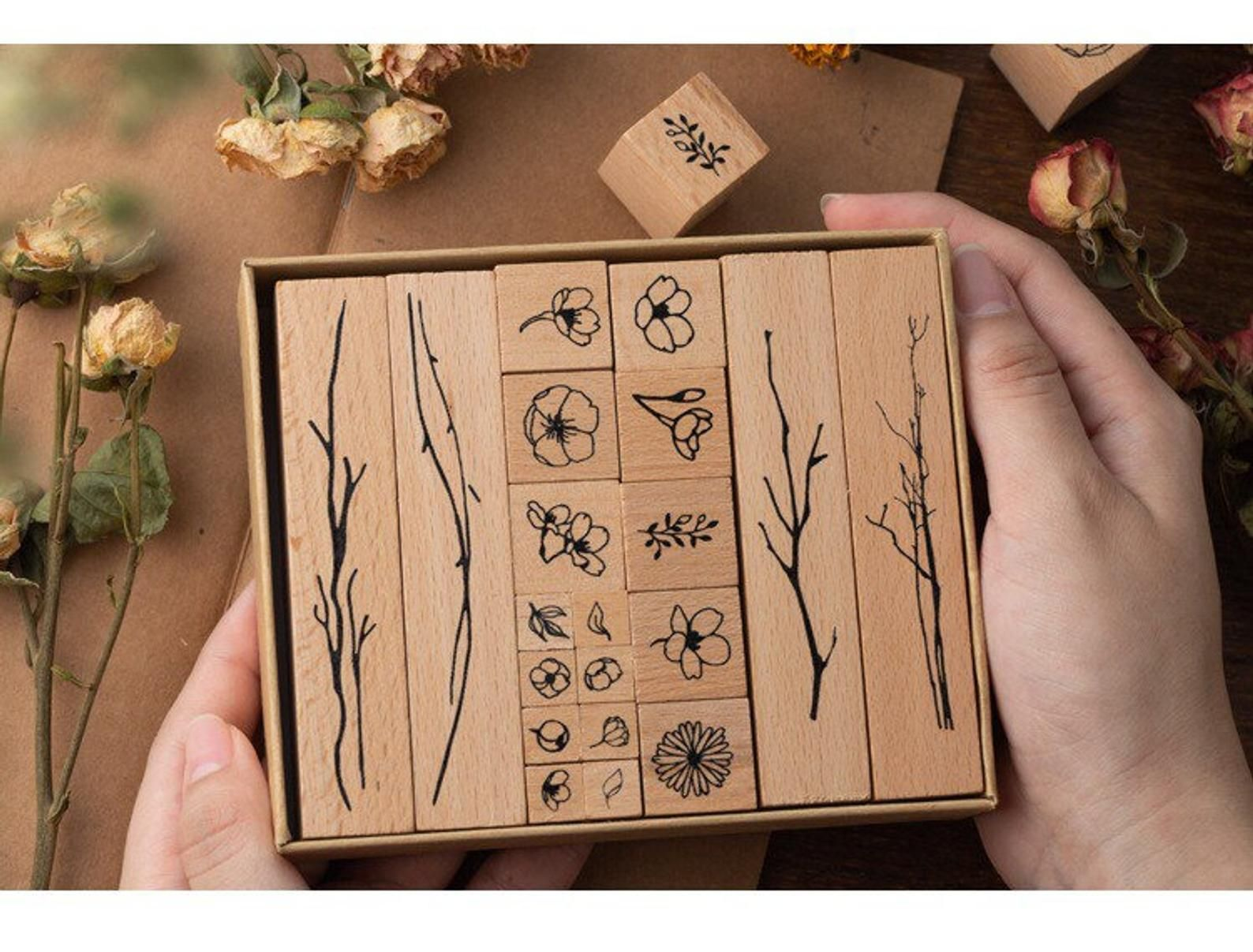 Diary Stamp Set Flowers Stamps Vintage Wooden Rubber Stamps Plants Stamp Set Leaves Stamps
