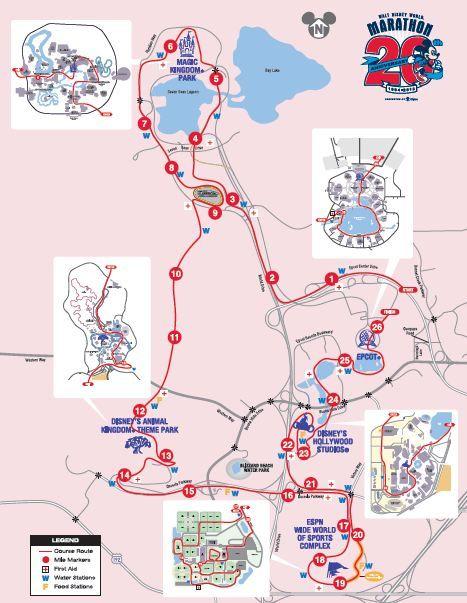 Disney Marathon Course Map on
