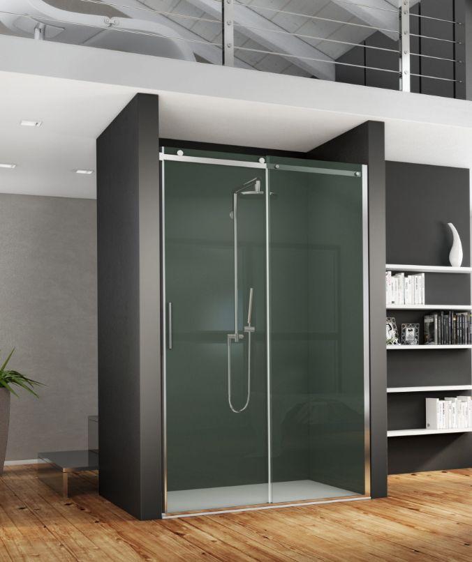 Paroi de douche AXER à accès de face coulissant, ouverture centrale - hauteur robinet douche italienne