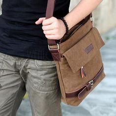 Men's Vintage Canvas Leather Shoulder Bag Cross Body Brown