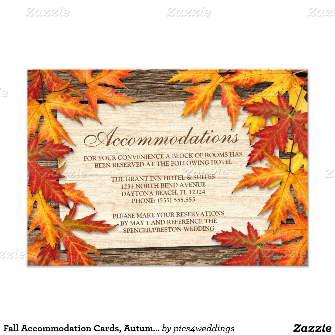 Fall Accommodation Cards Autumn Wedding Inserts 3 5x5 Paper