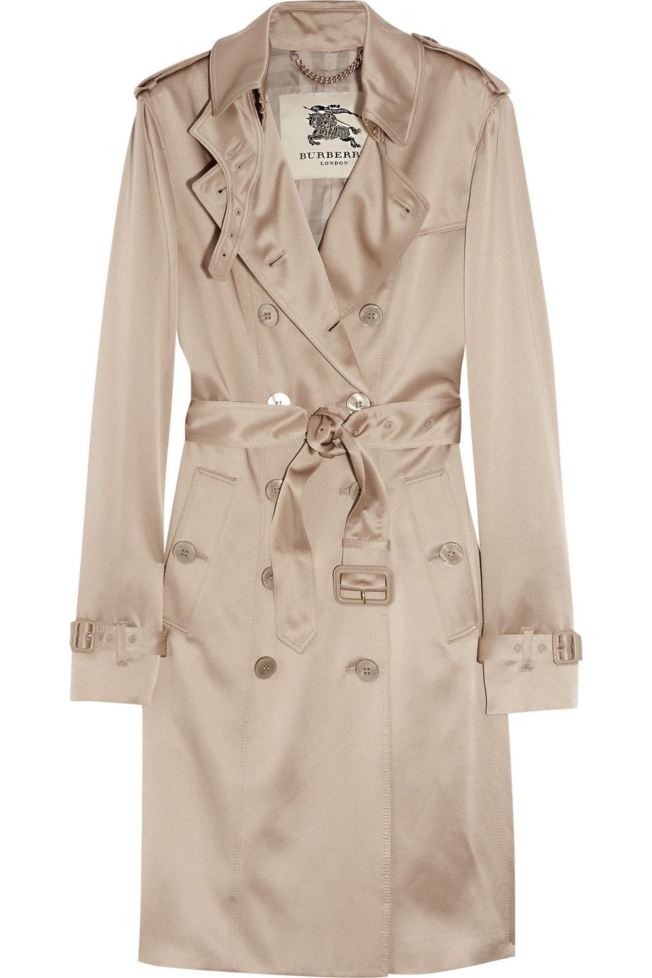 Neutral Silk Crepe De Chine Trench Coat Burberry Trench Coat Silk Crepe Clothes