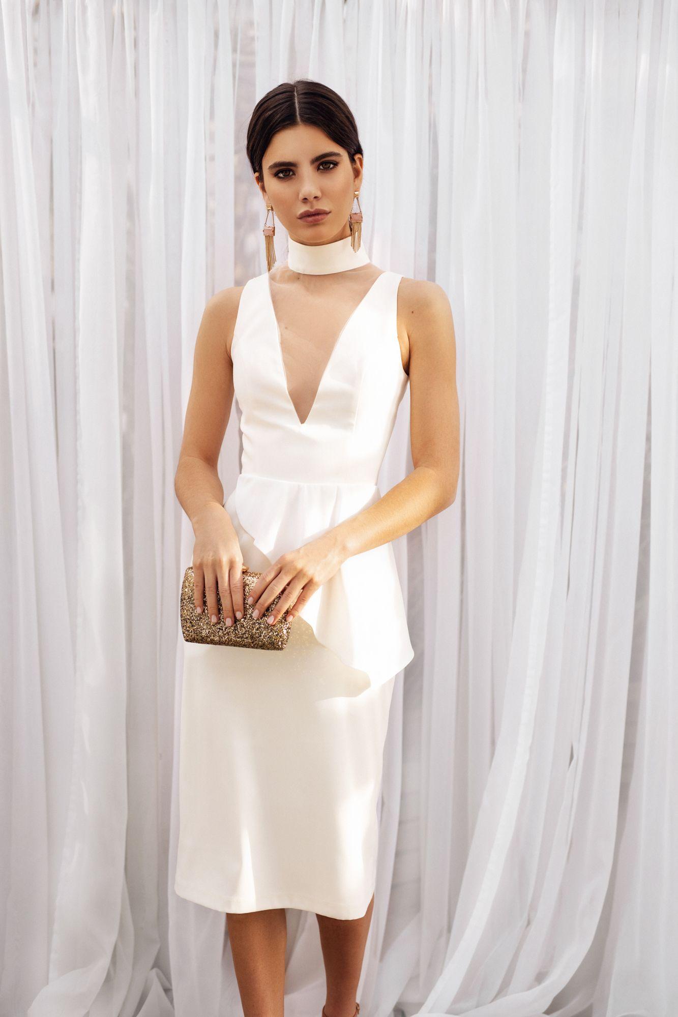 Midi Satin Wedding Dress Minimalist Simple Bridal Gown Etsy Simple Bridal Gowns Unusual Wedding Dresses Amazing Wedding Dress [ 2000 x 1333 Pixel ]