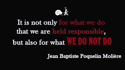 "It is not only for what we do that we are held responsible, but also for what we do not do.""  Jean Baptiste Poquelin Molière"