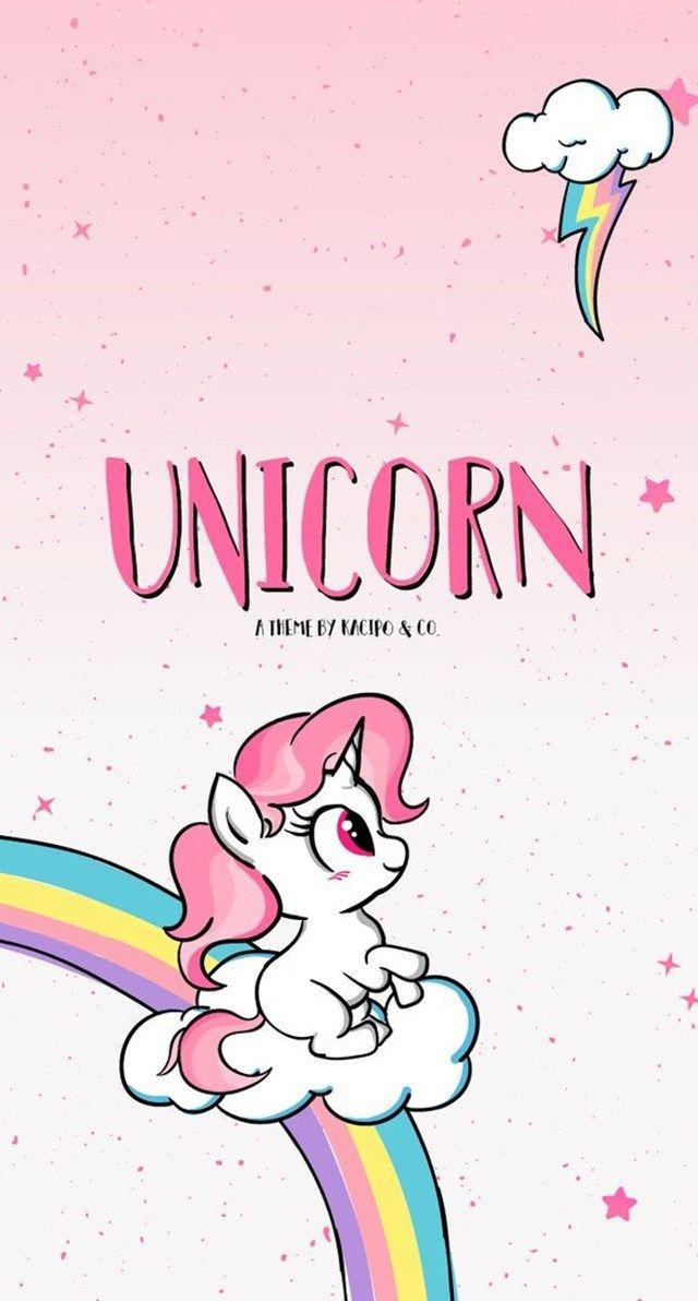 Unicorn Dengan Gambar Bunga Cat Air Kertas Dinding Ilustrasi