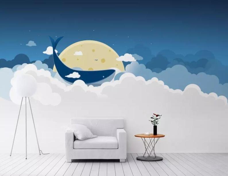 3D White cloud, Blue sky, Bright moon, Whale Wallpaper