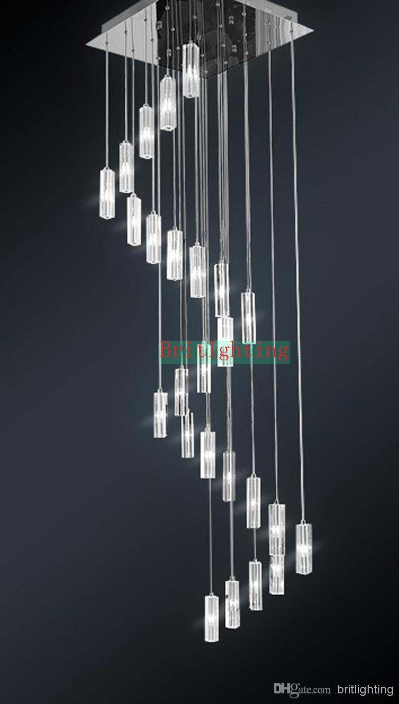Spiral crystal chandelier multiple building chandelier restaurant wholesale led lamps buy spiral chandeliers crystal modern staircase chandeliers lighting fixture square chandelier stairway aloadofball Image collections