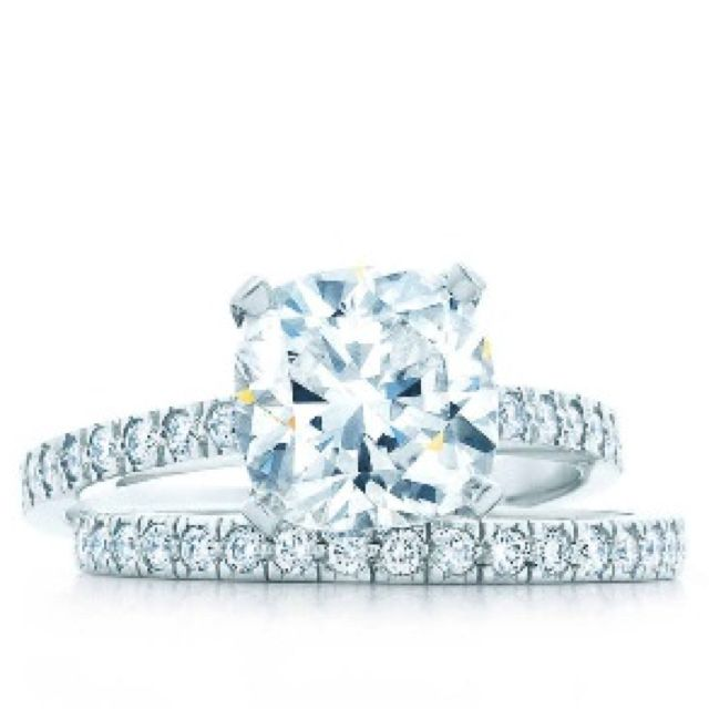 Tiffany Novo Engagement Ring With Diamond Wedding Band So Pretty With Images Tiffany Engagement Diamond Bridal Sets Tiffany Engagement Ring