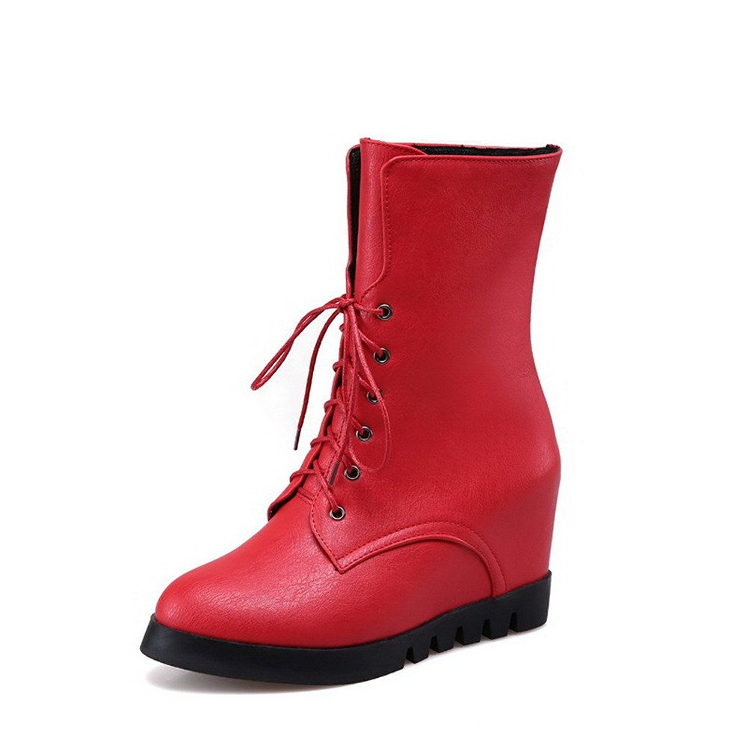 Women's Lace Up Round Closed Toe High Heels Pu Low-Top Boots