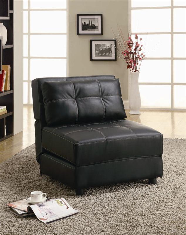 Outstanding Black Vinyl Lounge Chair Sofa Bed By Coaster 300173 Uwap Interior Chair Design Uwaporg